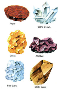 Picture 4. Some varieties of quartz.